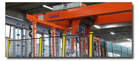 Overhead crane for glass sheets